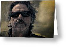 Badass Man In Sunglasses Stares Into The Unknown Greeting Card