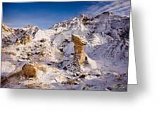 Badlands Hoodoo In The Snow Greeting Card