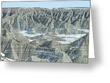 Badlands Under Snow Greeting Card