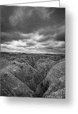 Badlands White River Valley Bw Greeting Card
