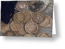 Bag Of Vintage Coins On Old Wood by Thomas Baker