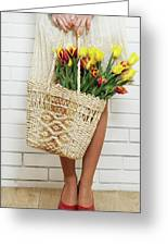 Bag With A Bouquet Of Tulips Greeting Card