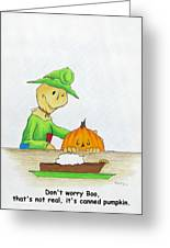 Baggs And Boo Canned Pumpkin Greeting Card