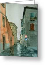Bagnoregio Street In The Rain Greeting Card