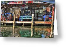 Bait Ice  Beer Shop On Bay Greeting Card