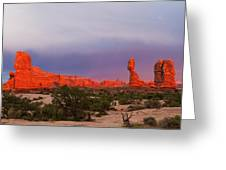 Balance Rock At Sunset, Arches National Park, Utah Usa Greeting Card