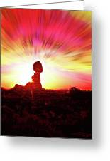 Balanced Rock Sunset - Fire In The Sky Greeting Card