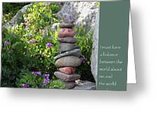 Balancing Stones With Tao Quote Greeting Card by Heidi Hermes