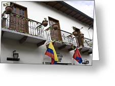 Balconies And Flags Greeting Card