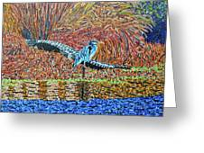 Bald Head Island, Gator, Blue Heron Greeting Card
