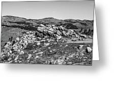 Bald Mountain Rock Formation In Black And White Greeting Card