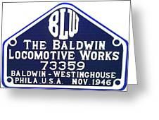 Baldwin Diesel Builders Plate Greeting Card