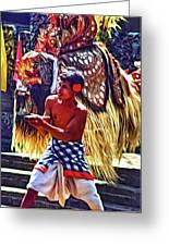 Bali Barong And Kris Dance  - Paint Greeting Card