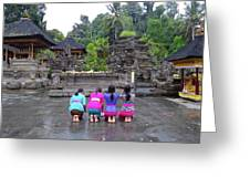 Bali Temple Women Bowing Greeting Card