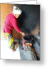 Balinese Lady Roasting Coffee Over The Fire Greeting Card