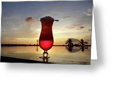 Balinese Sunset With Red Drink Greeting Card