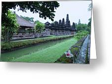 Balinese Temple With Flower Greeting Card