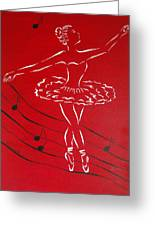 Ballerina In Red Greeting Card