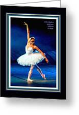 Ballerina On Stage L A With Decorative Ornate Printed Frame. Greeting Card