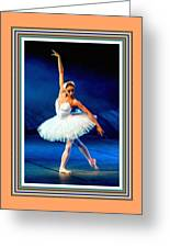 Ballerina On Stage L B With Alt. Decorative Ornate Printed Frame. Greeting Card