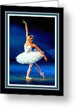 Ballerina On Stage L B With Decorative Ornate Printed Frame. Greeting Card