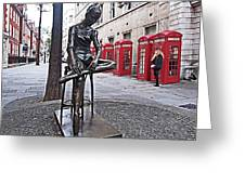 Ballerina Statue And Telephone Boxes Greeting Card