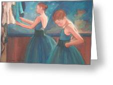 Ballerinas In Blue Backstage Greeting Card