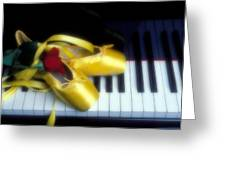 Ballet Shoes On Piano Keys Greeting Card by Garry Gay