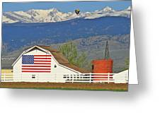 Balloon Barn And Mountains Greeting Card