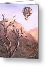 Balloon Over Desert Greeting Card