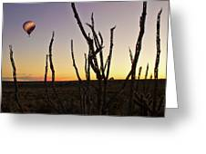 Ballooning At Sunset Greeting Card