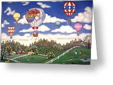 Ballooning Over The Country Greeting Card