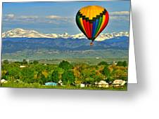Ballooning Over The Rockies Greeting Card