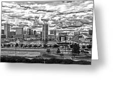 Baltimore Inner Harbor Dramatic Clouds Panorama In Black And White Greeting Card