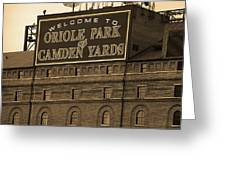 Baltimore Orioles Park At Camden Yards Sepia Greeting Card