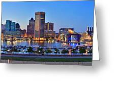 Baltimore Skyline Inner Harbor Panorama At Dusk Greeting Card