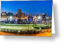 Baltimore Skyline Panorama At Dusk Greeting Card