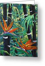 Bamboo And Birds Of Paradise Greeting Card