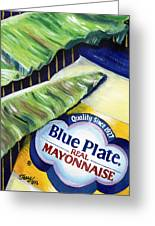 Banana Leaf Series - Blue Plate Mayo Greeting Card by Terry J Marks Sr