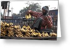 Banana Man On Cart In India Greeting Card