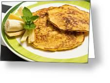 Banana Pancakes Closeup Greeting Card