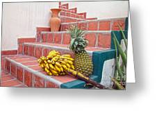 Bananas And Pineapple On Terracotta Steps Greeting Card