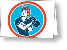 Bandana Woman Lifting Dumbbell Circle Retro Greeting Card