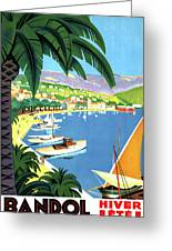 Bandol, French Riviera, Boats On Port Greeting Card
