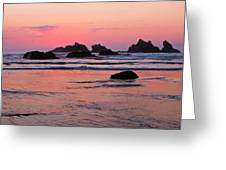 Bandon Beach Sunset Silhouette Greeting Card