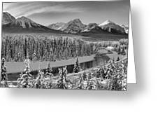 Banff Bow River Black And White Greeting Card