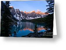 Banff - Moraine Lake Sunrise Greeting Card by Terry Elniski