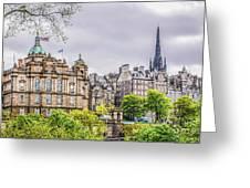 Bank Of Scotland And Skyline Edinburgh Greeting Card