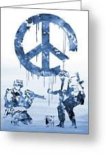 Banksy Soldiers-blue Greeting Card