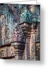 Banteay Srey Temple Bas Relief Details Greeting Card